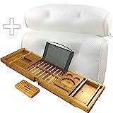 Maey - 1 Bandeja de bambú para bañera + 1 cojín para bañera con 6 ventosas
